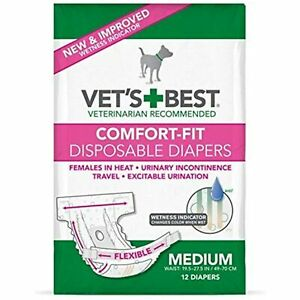 Vet's Best Comfort Fit Dog Diapers | Disposable Female Dog Diapers | Absorbent