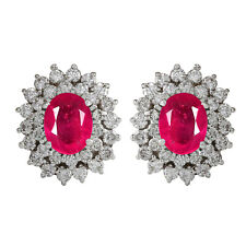 3.40Ct Natural Burmese Red Ruby EGL Certified Diamond Studs In 14KT White Gold