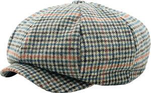 Oversized Herringbone Applejack Wool Blend Newsboy Gatsby Ivy Hat Golf Driver...