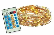 LED String Lights 100 LED Copper Wire Warm White Dimmable w/Remote Radiance 33ft