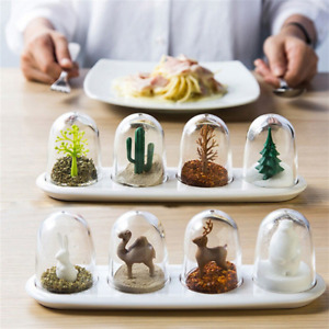 Kitchen Creative Spice Jar Storage Container Four Seasons Plant Animal Salt Suga