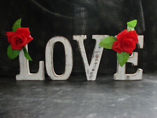 LOVE  LARGE SHABBY CHIC VINTAGE WHITEWASH WOOD LETTERS SIGN FREESTANDING 15CM