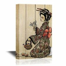 wall26 - Canvas - Traditional Japanese Woman Dressed in Kimono with Teapot-24x36