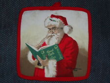 """1 NEW Potholder, hand-crafted -  SANTA & the GOOD BOOK,  8""""x8"""""""