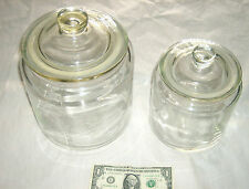 """2 Lot RARE IKEA Heavy Clear Glass 8"""" & 10"""" Air Seal Lid Cookie Candy Fruit Jars"""