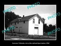 OLD POSTCARD SIZE PHOTO OF LAWRENCE NEBRASKA THE RAILROAD DEPOT STATION c1960