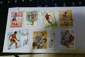 7 Laos football theme used postage stamps philately postal mail Philatelic