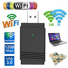 1200Mbps USB 3.0 Wireless WiFi Adapter Dongle Dual Band Bluetooth 5.0 W/Antenna