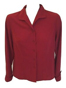 Laura Scott Red Chiffon Button Down Top Blouse Size 6 Petite Career Work