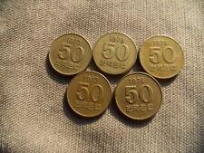 South Korea 50 Won FAO Coin,Lot of 5 Pcs,1973 x 2,1974 x 2,1978