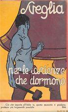 """C7462) """"SVEGLIA PER LE COSCIENZE CHE DORMONO"""", CAMPANA E UOMO CON MARTELLO."""