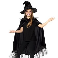 Kids Girls Sparkly Black Witch Halloween Kit Hat Cloak Cape Harry Wizard Costume