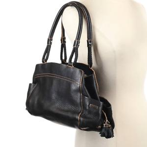 Cole Haan Black Pebbled Leather Tassel Bag Purse Handbag