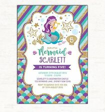 Little Mermaid Invitation First 1st Birthday Invite Teal Gold Pool Party Beach