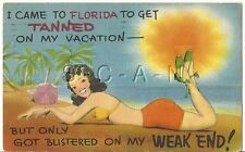 Original 1930s-50s Semi Nude Pinup Linen PC- Comic- Swimsuit- Bikini- Tanned