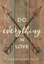 """DO EVERYTHING IN LOVE 1 Corinthians 16:14 Distressed Wood Slat Sign, 4.5"""" x 6.5"""""""