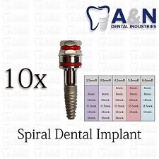 10 SPIRAL Dental Implant Internal Hex Sterilized Free Shipping High Quality