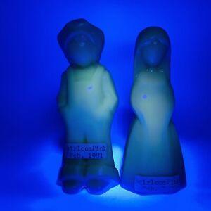Mosser Jenny Josh Uranium Glass Dolls Pair Heirloom Pink Vi Hunter