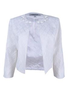 Kasper Women's Jacquard Honeycomb Flyaway Jacket 6, Vanilla Ice
