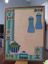 Vintage Classic 1970's WALL HANGING Picture Burlap Retro Kitchen Design Framed
