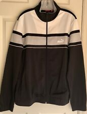 PUMA MENS LONG SLEEVE FULL ZIP COLORBLOCK TRACK JACKET SWEATSHIRT NAVY Sz L EUC!