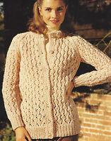 "Ladies Chunky Cardigan Knitting Pattern Lacy details raglan sleeves 32-40""576"