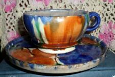 Nice Vintage Stoneware Pottery Mexico Cup & Saucer Brightly Colored LOOK L5