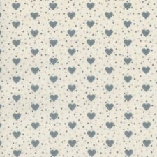 Textiles français Baumwolle Stoff | Die Liebesherzen Grau und Elfenbein