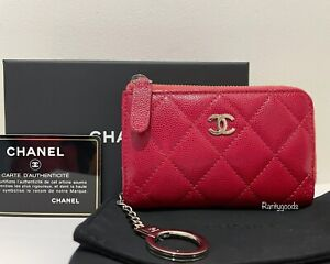Chanel Raspberry Pink Red Caviar O-Key Holder Card Holder Zipped Purse 26 Series