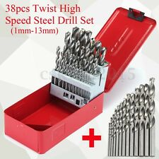 38Pcs HSS Twist High Speed Steel Kit in Metal Case 1mm-13mm Metric Drill Bit Set
