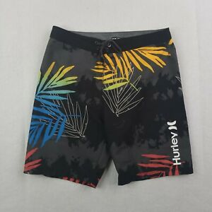 Hurley Board Shorts Mens Size 30 Gray Palm Fronds Colorful Beach Surfer Trunks