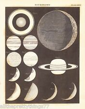 ASTRONOMY Planets Moon Saturn Antique Picture from 1800 's 1832 Encyclopedia