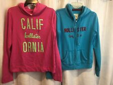 Hollister California PINK Hoodie Pink BLUE Sparkle L Lg LOT OF 2 ZIP PULLOVER