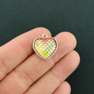 4 Mermaid Scale Heart Charms Antique Silver Tone Vibrant Orange - Z788