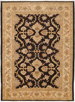 4X6 Hand-Knotted Farhan Carpet Traditional Black Fine Wool Area Rug D41132