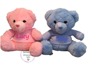Personalised Soft Baby Teddy Bear Removable T-Shirt Pink Blue Boy Girl Gift