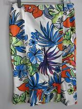 Les Copains MULTICOLOR Floral Print Skirt White Size 4 - Small IT 38 Rt $380-NWT