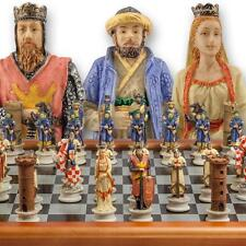 """The Chessmen Hand Painted Crusades Chess Set with 3"""" King and 40cm Chessboard"""