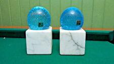 1950s Fratelli Toso VTG Murano Art Glass Bullicante Aqua on Marble Block Pair