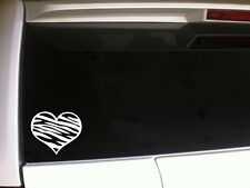 "Zebra Print Heart Car Decal Vinyl Sticker 6"" *C30 animal love jungle laptop art"