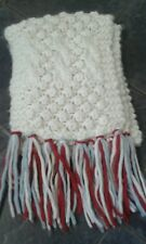 h&m scarf cream red and blue chunky knit