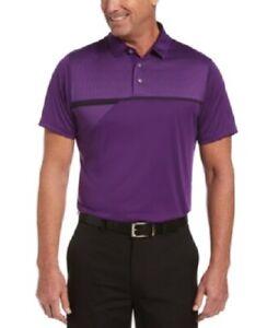 PGA TOUR Men's Athletic-Fit Short-Sleeve Tech Golf Polo Shirt, Purple, XXL