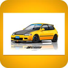 Spoon Sports Civic EG6 SiR II Carnival Yellow | 13x19' Print Poster EK9 DC2