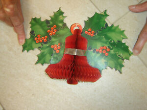 Vintage 1950s Christmas Cardboard & Honeycomb Paper Holly & Bell Wall Decoration