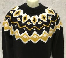 "Nordic ""monki"" HAND KNITTED WOMENS ALPINE WOOL MIX JUMPER BROWN YELLOW WHITE XS"