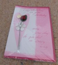 Congratulations On Your Birthday Card with 3D Flower