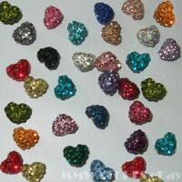 HALF DRILLED HEART SHAMBALLA CRYSTAL PAVE CLAY BEADS FOR MAKING EARINGS B6