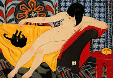 Nude Playing with Cat 22x30 Art Deco Japanese Print Cat Asian Japan