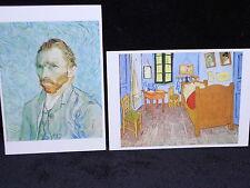 Vincent van Gogh 2 POSTCARDS Self portrait and La Chambre