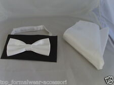 Shiny Polyester WHITE Bow Tie and Hankie Set > Matching Cummerbund are Available